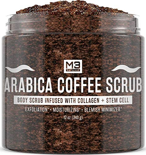 M3 Naturals Arabica Coffee Scrub Infused with Collagen and Stem Cell - Natural Body and Face Scrub for Acne, Cellulite, Stretch Marks, Spider Veins, Scars - Skin Care Exfoliator 12 oz.