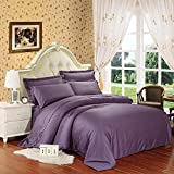 Modern Bedding Sets Home Printed Duvet Cover Set, 250 Thread Count, 100% Cotton Sateen, Inside Ties, Comfortable, Soft Durable, 4pc Bedding Set, Grey Plaid, Full Queen Size(Queen) , deep purple