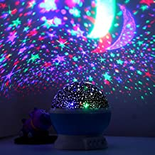 [New Generation] Magicmoon Sun And Star lighting Lamp 4 LED beads 360 Degree Romantic Lamp Relaxing Mood Light Projector Baby Nursery Bedroom Children Room and Christmas Gift (Blue)