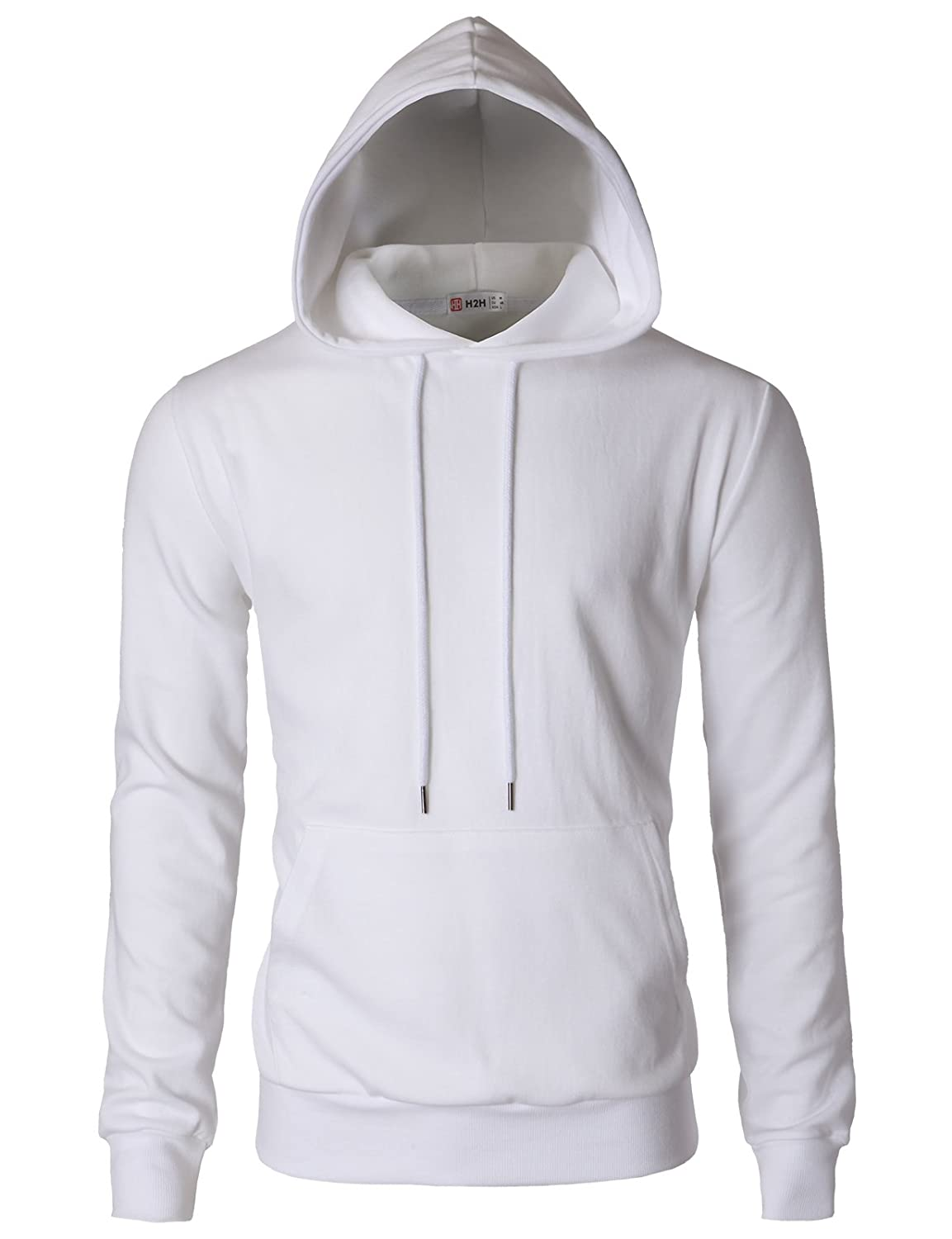 Cmohol054white XLarge H2H Mens Casual Slim Fit Long Sleeve color Block Hoodie with V Design line