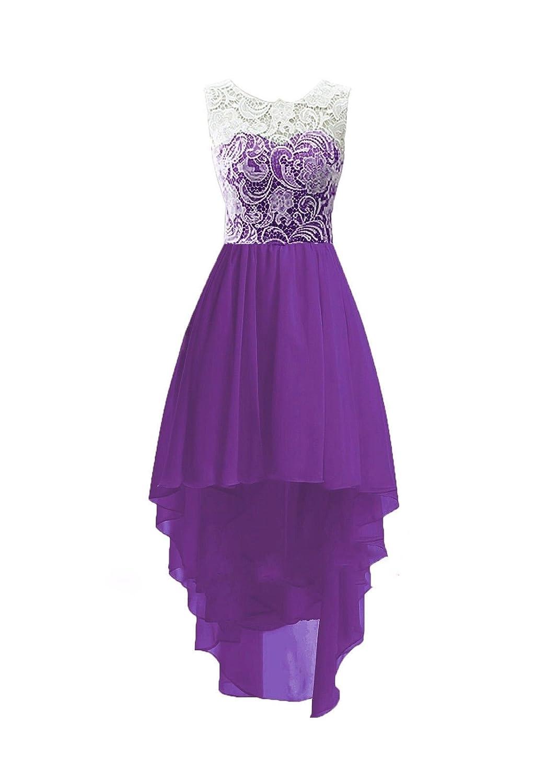 Violet 36 pour femme Charm4you Robes de Cérémonie Soirée Fille Enfant Femme Demoiselle d'honneur Femme Asymétrique Dentelle