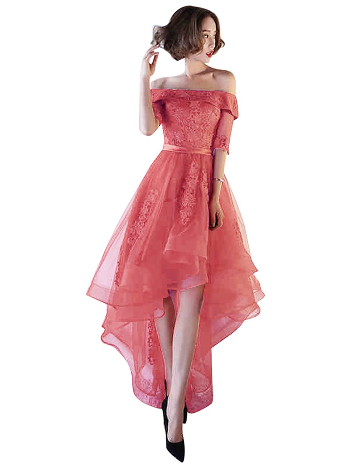 Coral BessWedding Women's Tulle High Low Homecoming Dresses Short 2018 Formal Prom Gown BHZ707