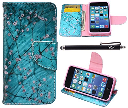 iPhone 5C Case, iPhone 5C Case Wallet, iYCK Premium PU Leather Flip Folio Carrying Magnetic Closure Protective Shell Wallet Case Cover for iPhone 5C with Kickstand Stand - Plum Blossom