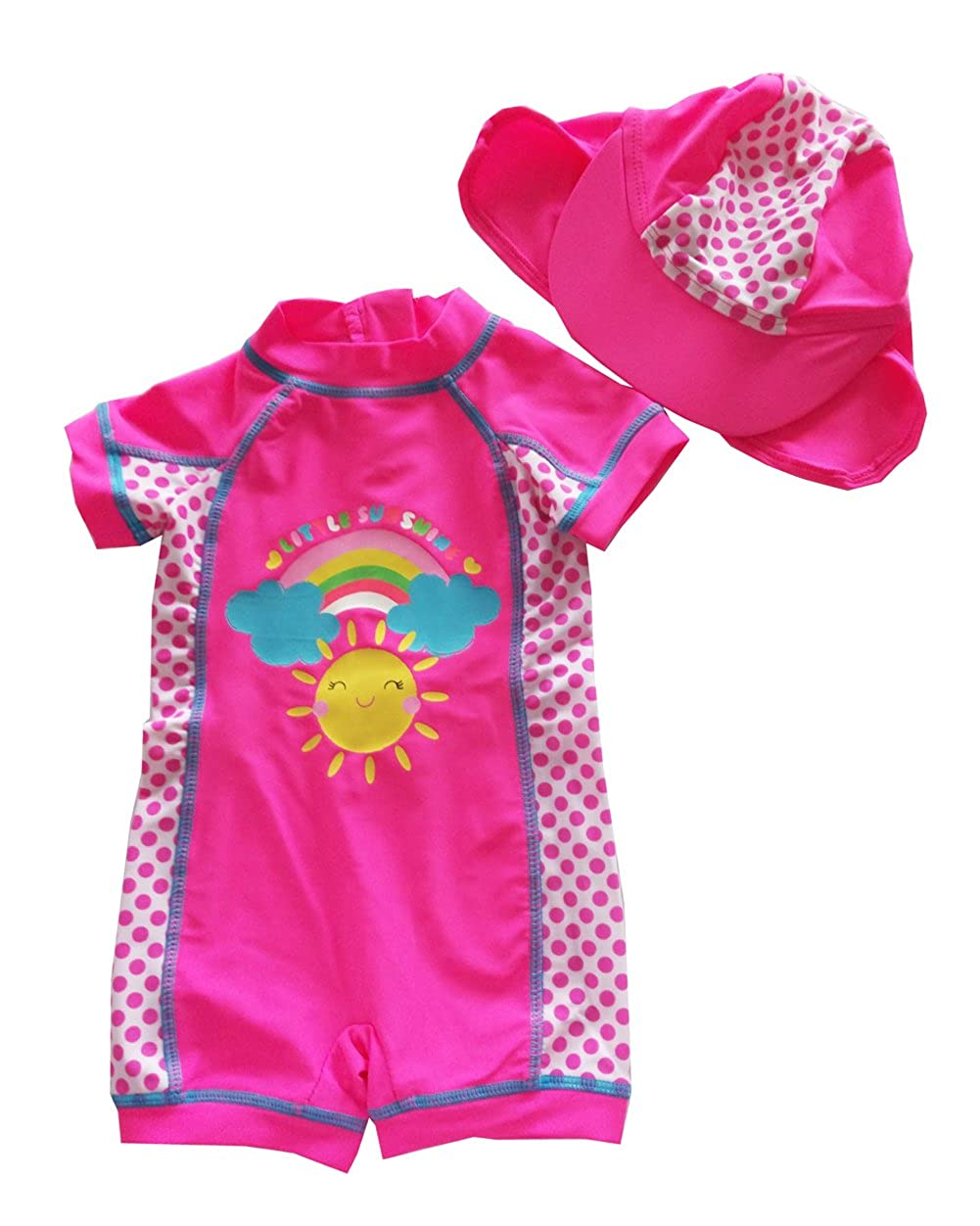 Infant Baby Girls Sunsuits Sun Shine Beach Swimwear Hat Swim Set