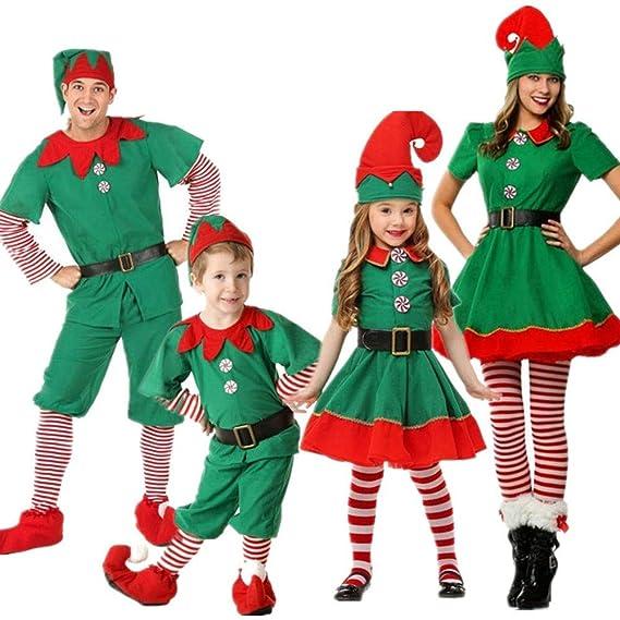 ShangSRS Disfraz de Navidad Conjunto de Cosplay Duende Elfo Navidad Traje Navideño para Adultos y Niños Familia