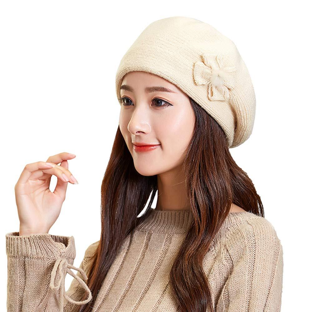 BCDshop_Hat Womens Winter Beanie Hat,New!BCDshop Ladies Fashion Flower Knit Soft Warm Cap Beret Ear Warmer (Beige 6) by BCDshop_Hat