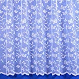 Meadow Butterfly Floral Net Curtain in White - Multiple Drops - Sold By The Metre (48' (121cm))