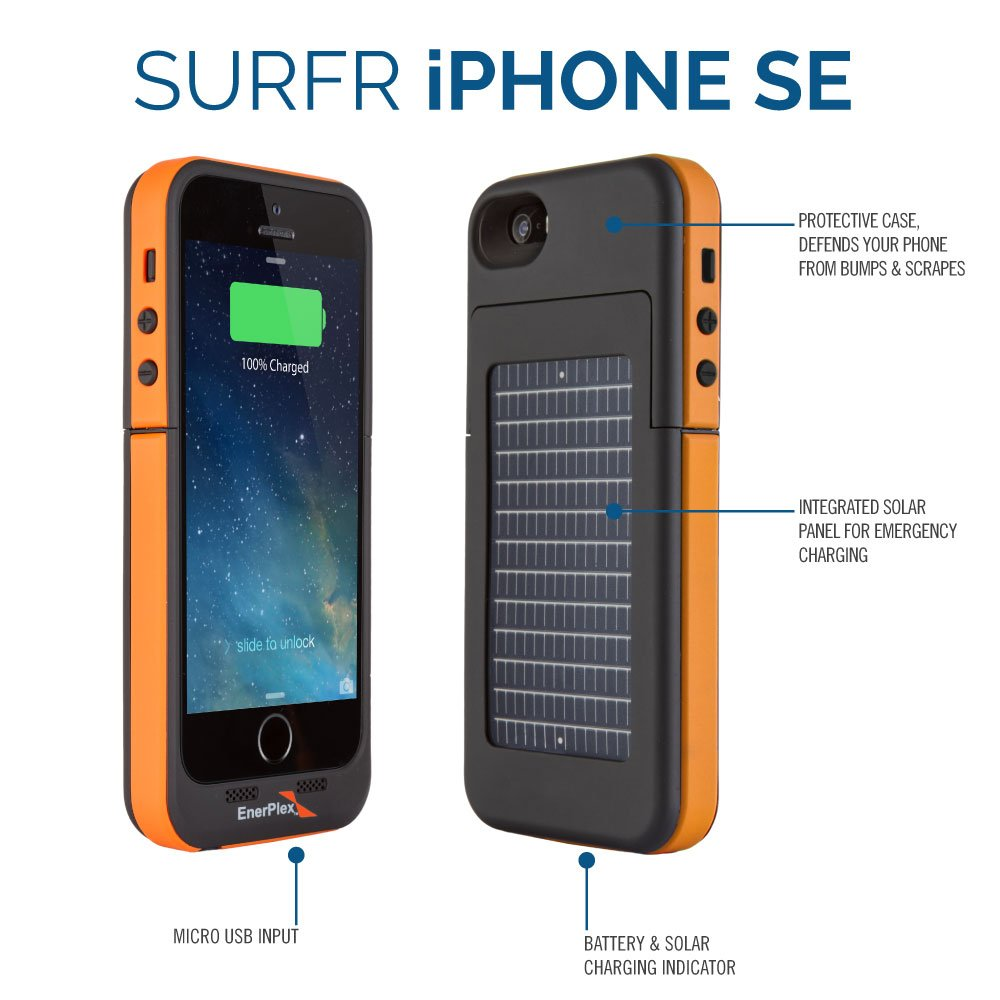 sports shoes 08830 9ea31 EnerPlex Surfr Ultra Slim Battery Backup & Solar Powered Case for iPhone  SE/5/5S, Black/Orange, SFI-2000-OR