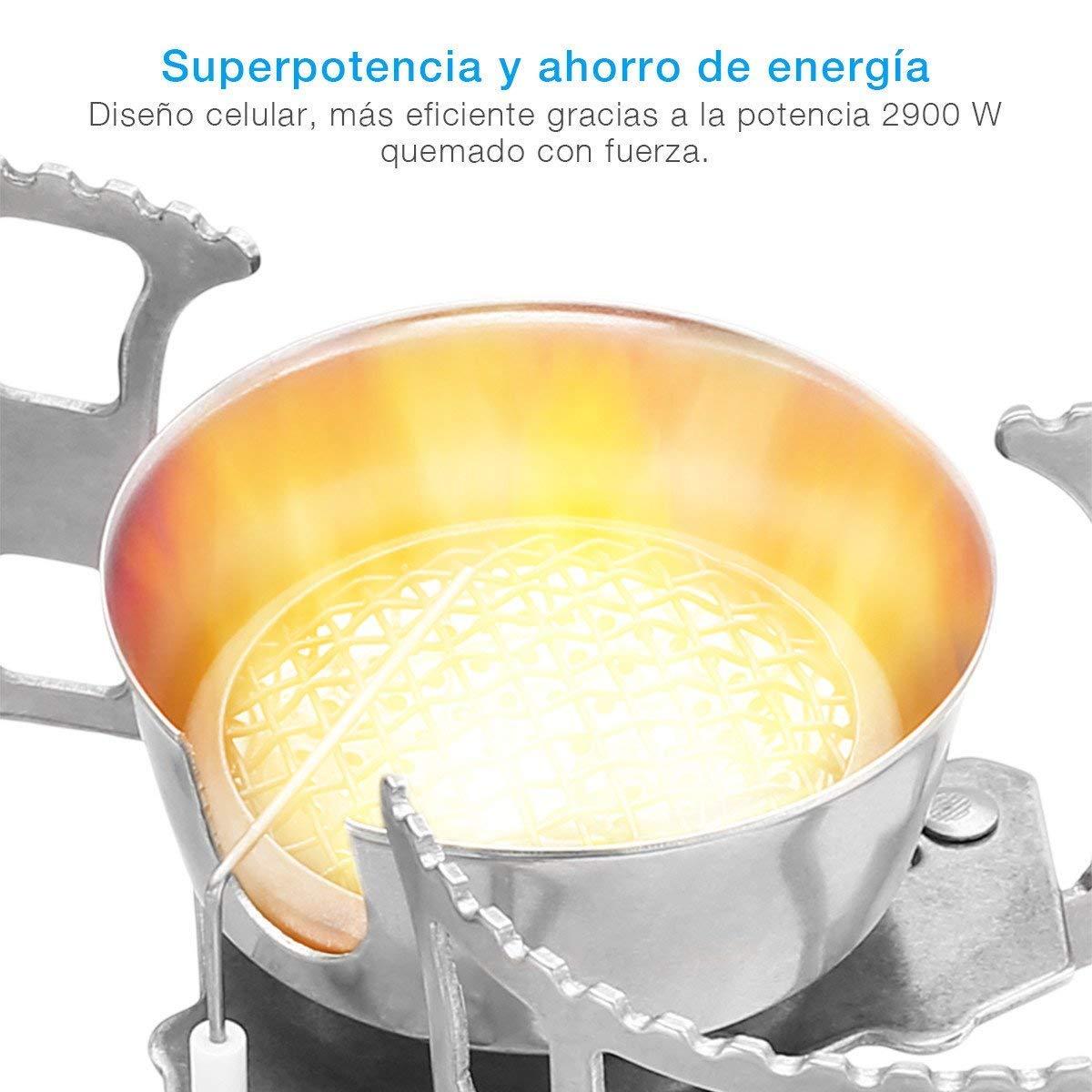 isYoug Mini Poêle superlégers Pliable extérieur Résistant au Vent en acier inoxydable de camping cuisine de design partagé de allumage électronique de superpuissance 2900W