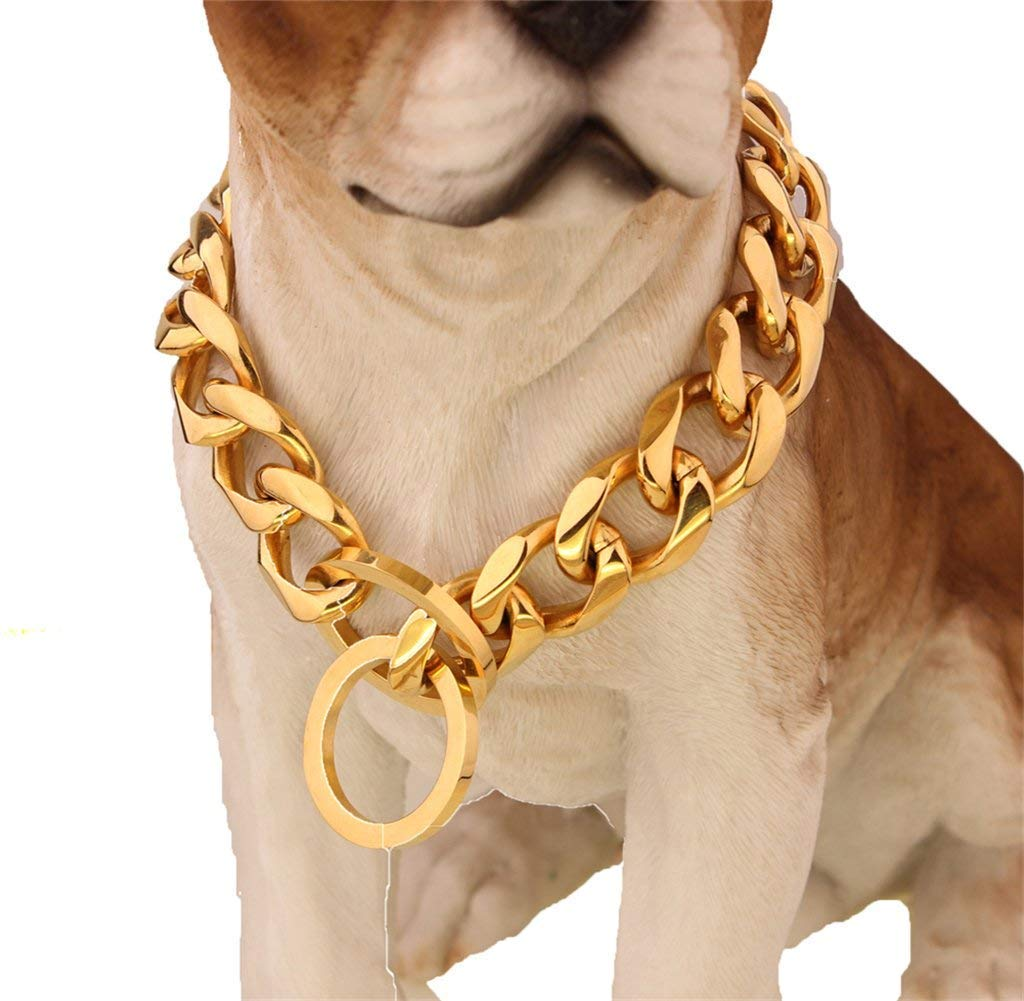 MUJING 19 Mm Metal Dog Collar Stainless Steel Pet Chain Necklace 316L Stainless Steel Dog Choke Chain Collar,G