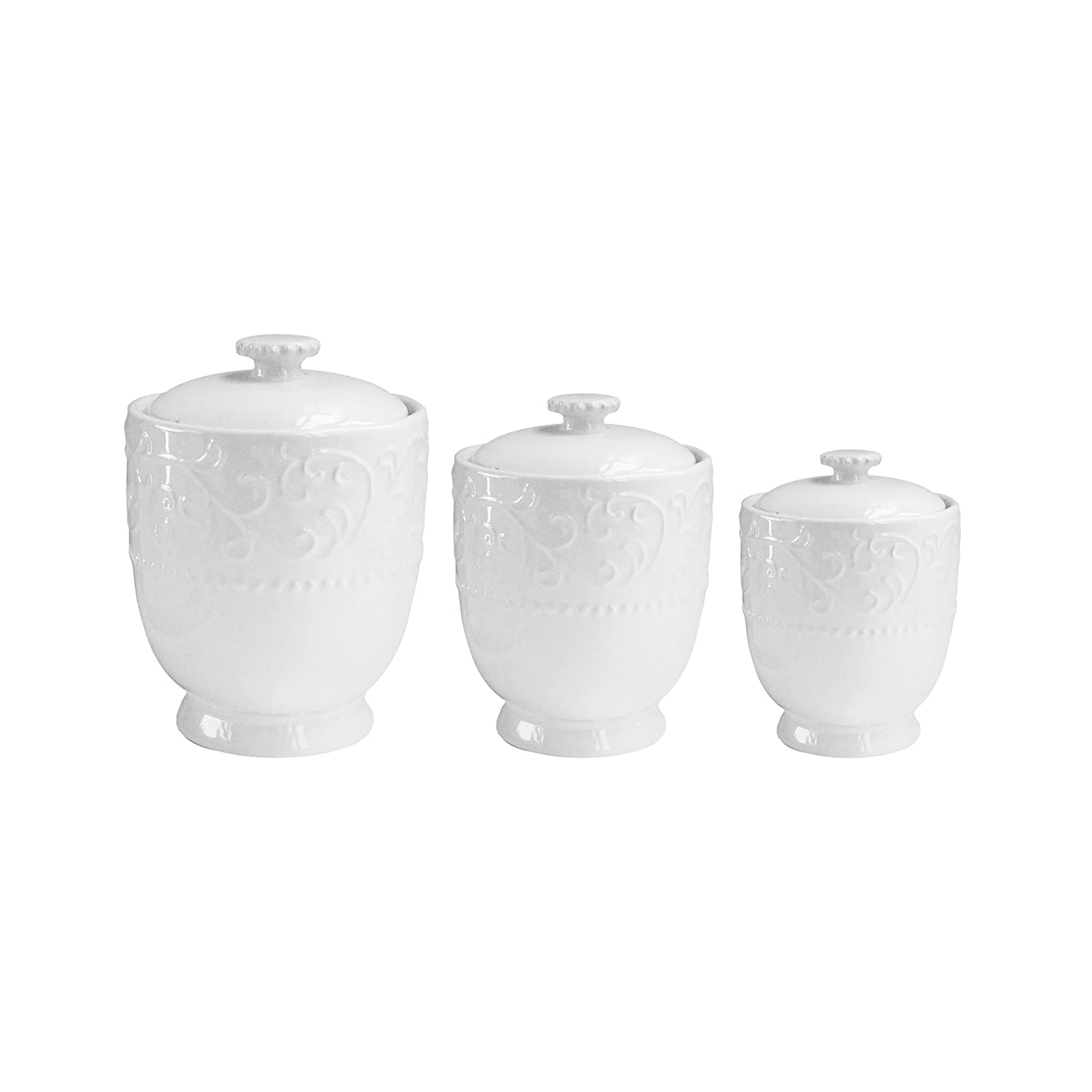 American Atelier 1562460-RB Bianca Scroll Set of 3 Round Canisters, White