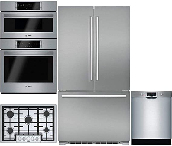 "Bosch 4-Piece Stainless Steel Kitchen Package B21CT80SNS 36"" French Door Refrigerator,HBL8752UC"