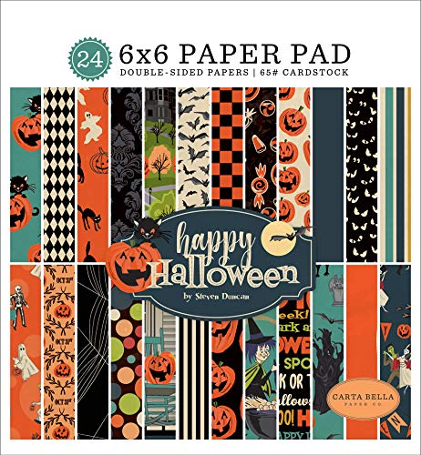 Halloween Scrapbooking Paper (Carta Bella Paper Company CBHAL104023 Happy Halloween 6x6 Pad Paper, Orange, Black, Blue,)