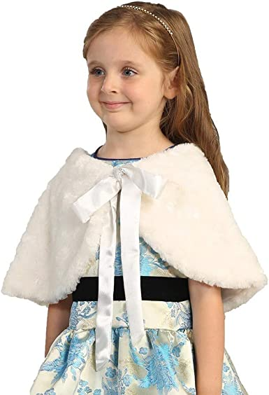 Angels Garment Baby Girls Off White Faux Wrap Bow Collar Cape 24M-4T