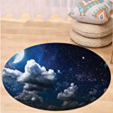 VROSELV Custom carpetApartment Decor Celestial Solar Night Scene Stars Moon and Clouds Heaven Place in Cosmos Theme Bedroom Living Room Dorm Decor Dark Blue White Round 79 inches