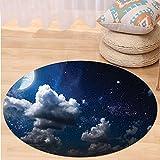 VROSELV Custom carpetApartment Decor Celestial Solar Night Scene Stars Moon and Clouds Heaven Place in Cosmos Theme Bedroom Living Room Dorm Decor Dark Blue White Round 79 inches