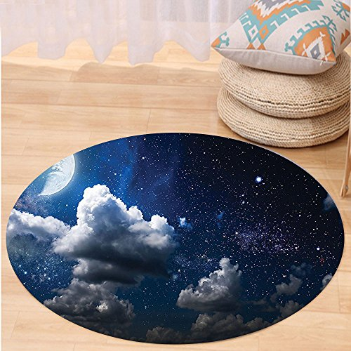 VROSELV Custom carpetApartment Decor Celestial Solar Night Scene Stars Moon and Clouds Heaven Place in Cosmos Theme Bedroom Living Room Dorm Decor Dark Blue White Round 79 inches by VROSELV