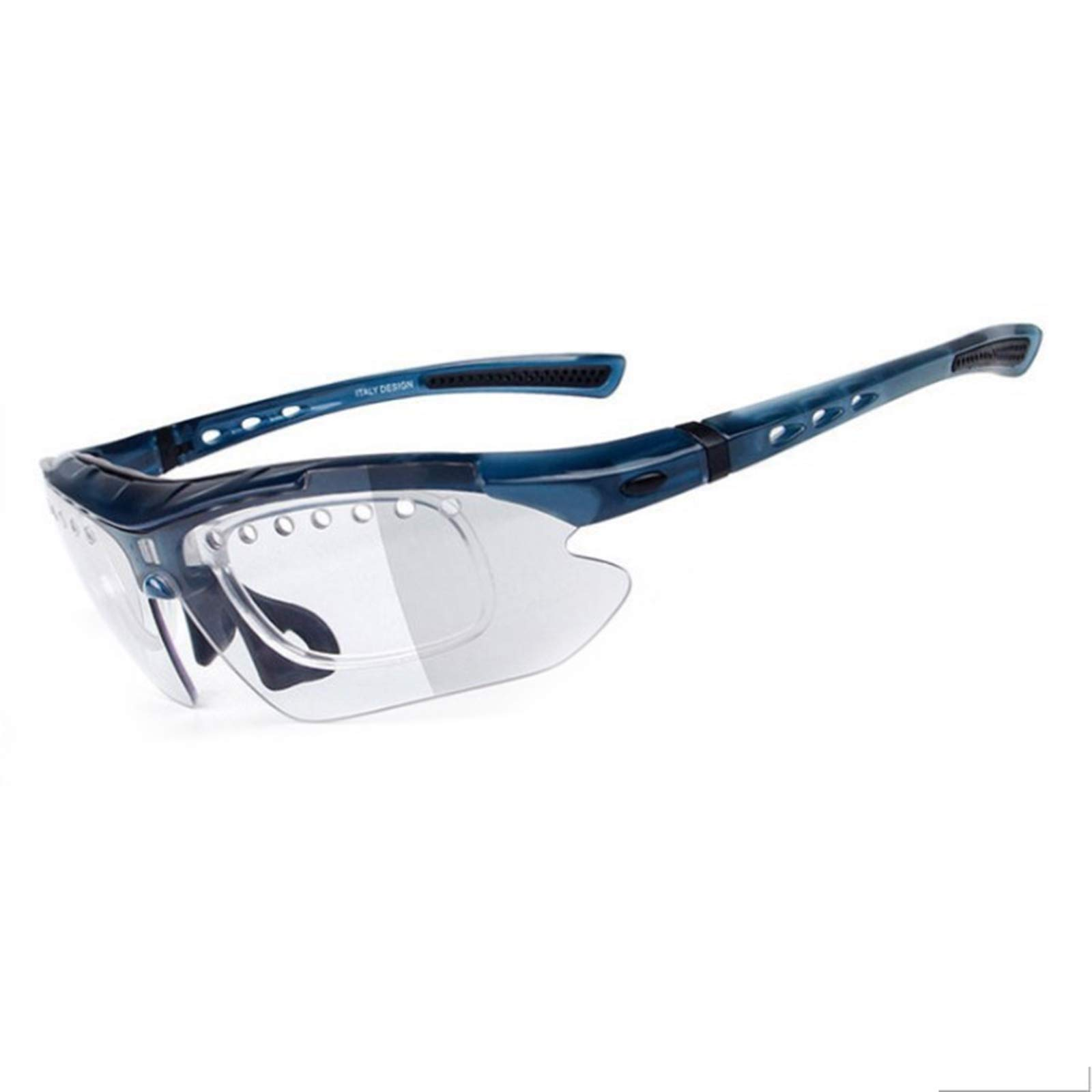 Adisaer Polarized Glasses Color Changing Luminous Night Vision Riding Running Mountain Bike Goggles Blue for Unisex-Adult