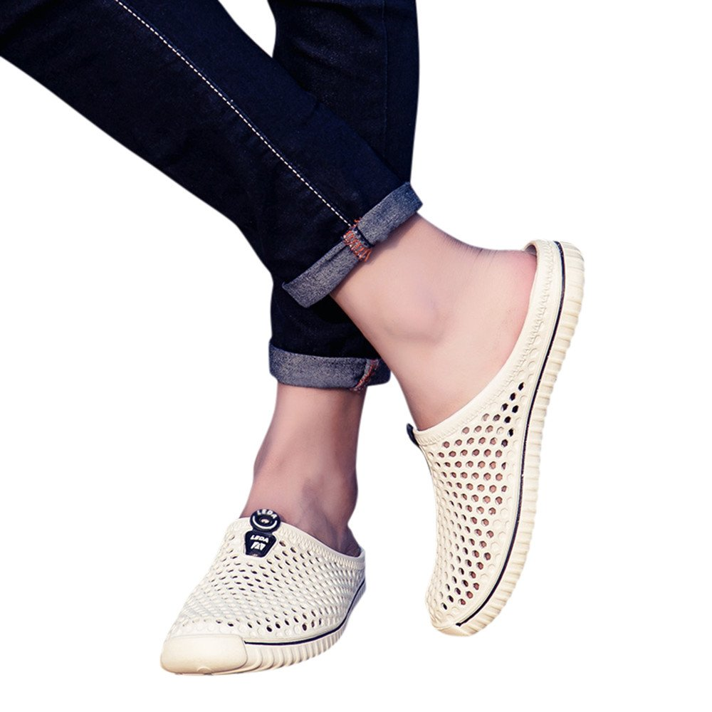 NRUTUP Men Shoes Unisex Hollow out Casual Couple Beach Sandal Flip Flops Shoes(White,37) by NRUTUP (Image #1)