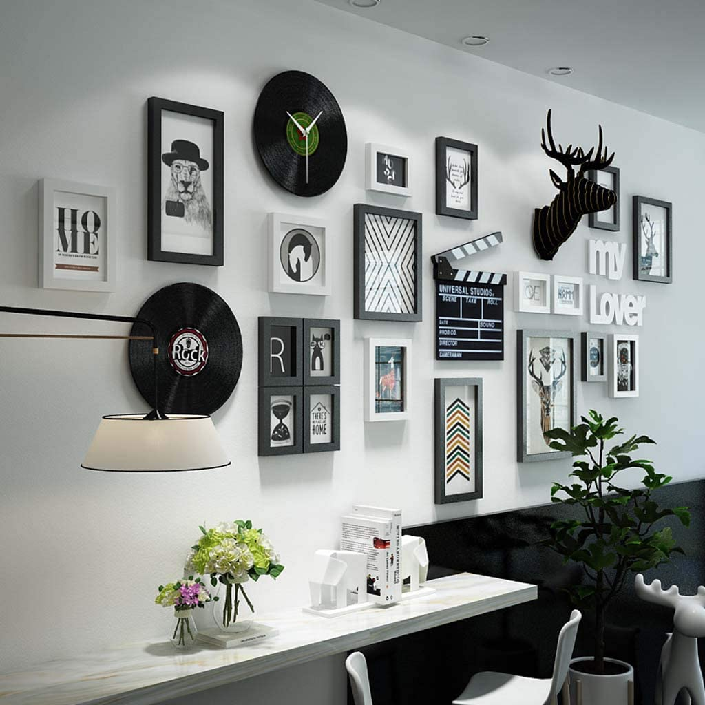 ZXW Large Wall Solid Wood Photo Wall Set 24pcs, Combination Photo Frame Deer Head Decoration Painting Can Change Photos, 19 Photo Frames & 5 Accessories-Black+White