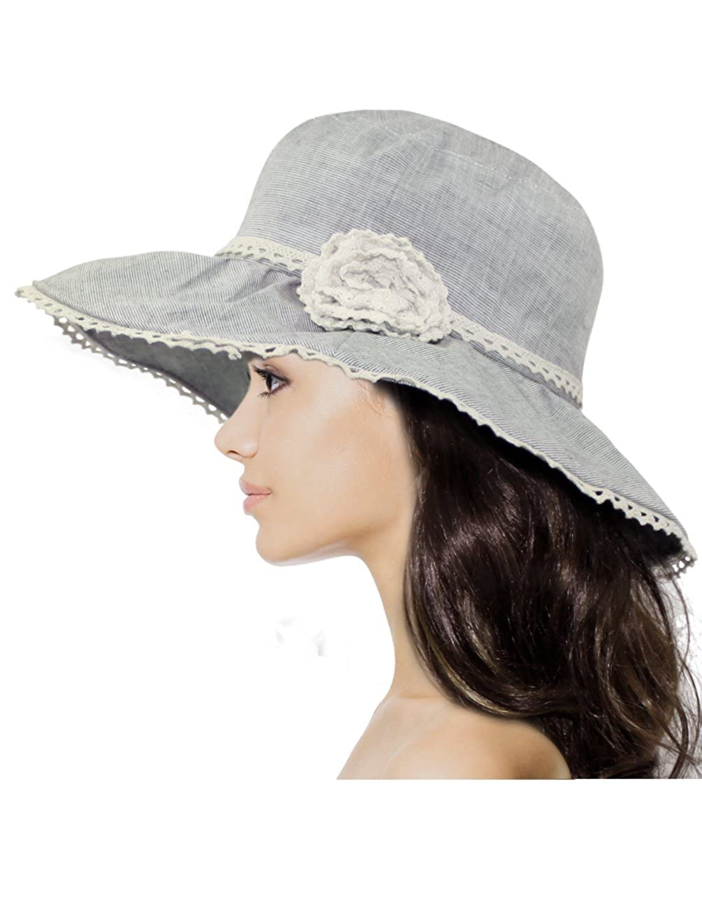 f034d28a92c09 Dahlia Women s Summer Sun Hat - Lace Flower Shapeable Edge Bucket Hat Blue  Gray at Amazon Women s Clothing store
