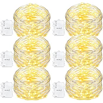 Oak Leaf 60 LED String Lights,6 Pack Fairy Starry Light Battery Operated Waterproof for Bedroom Indoor Party Wedding Decorative Lighting Outdoor,Warm White,9.8 Feet