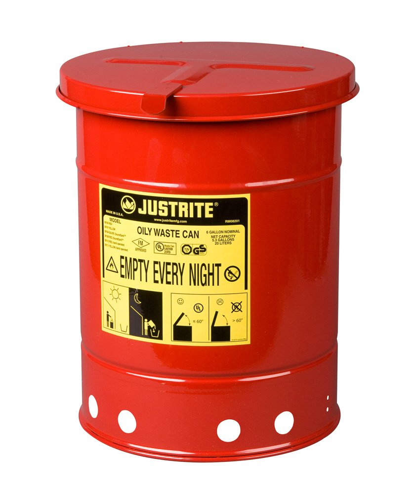 Justrite 09110 Galvanized Steel Oily Waste Safety Can with Hand Operated Cover, 6 Gallon Capacity, Red