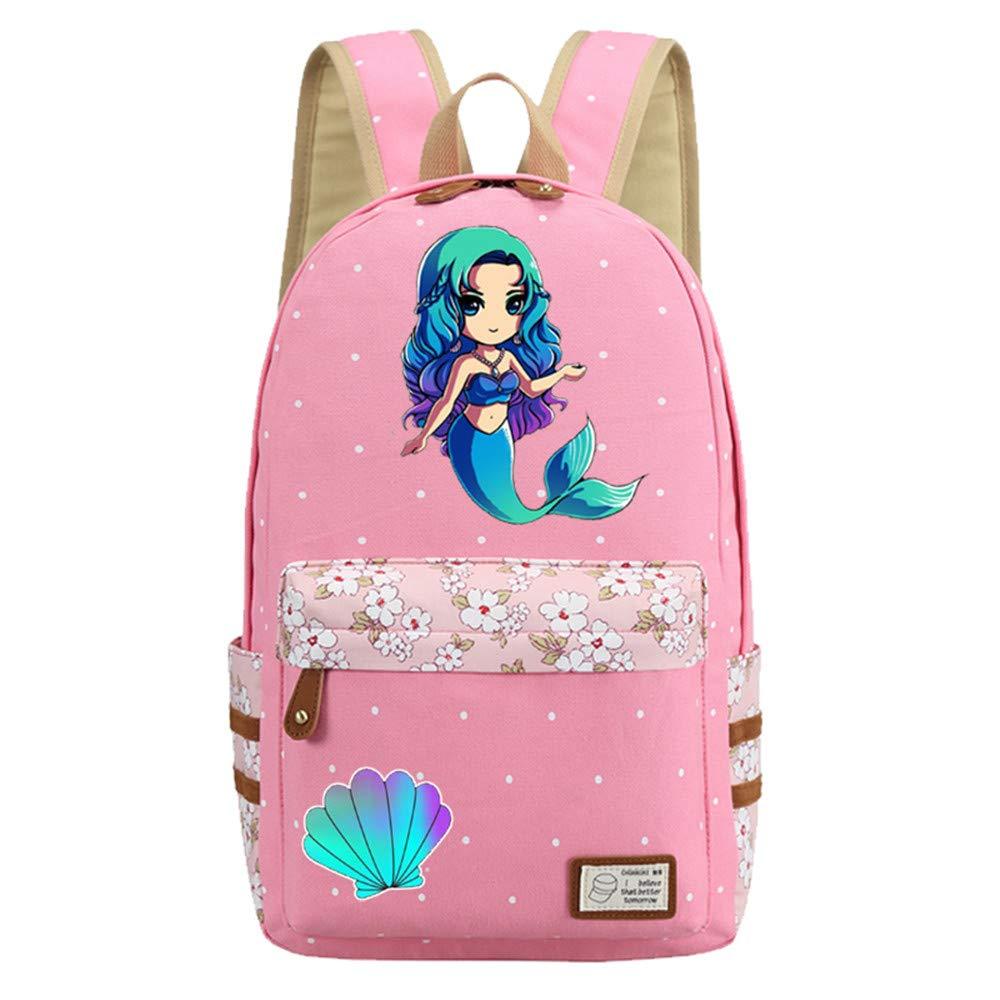 Amazon.com: Mochila de sirena flores bolsa de lona niñas ...