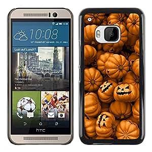 FECELL CITY // Duro Aluminio Pegatina PC Caso decorativo Funda Carcasa de Protección para HTC One M9 // Orange Pumpkin Evil Holiday