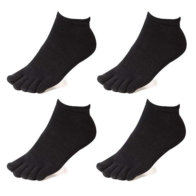 0d25cdfe2a664 Meaiguo Toe Socks No Show Running Five Finger Crew Socks for Men Women 4  Pack