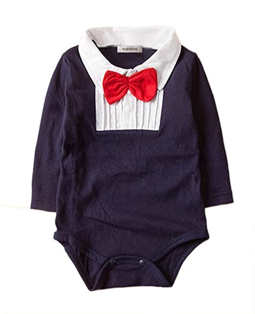 1ffa702eb57d Amazon.com  stylesilove Long Sleeve Tuxedo Shirt Baby Boy Romper ...