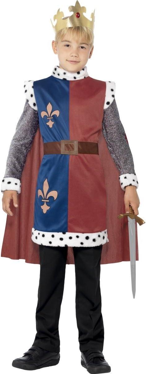 Smiffys-44079M Disfraz Medieval del Rey Arturo, con túnica, Capa y Corona, Color Rojo, M-Edad 7-9 años (Smiffy'S 44079M)