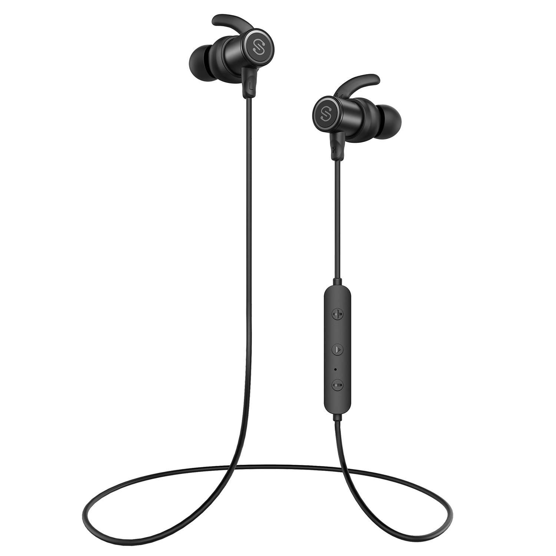 Bluetoothヘッドホン インイヤー ワイヤレスイヤホン 4.1 マグネット式 防汗 ステレオ Bluetoothイヤホン スポーツ用 マイク付き (8時間再生 安全フィット ノイズキャンセリング ブラック   B07PQ849SM