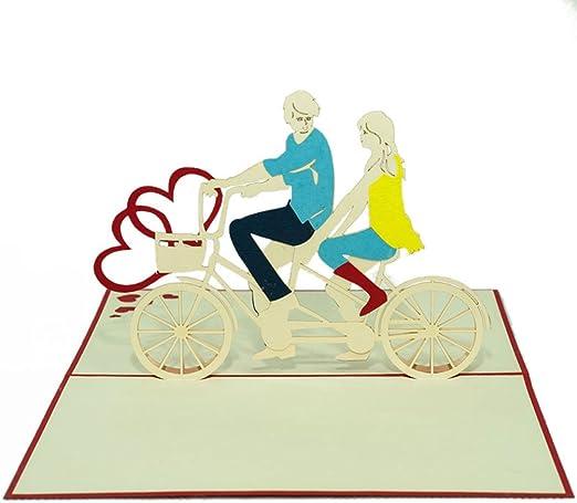 Favour Pop Up – Tarjeta de – Pareja en tándem de bicicleta. Diseño elegante, funciona mano y sofisticada Tecnología Laser Guardar en un espacio reducido de crear una filigrana de arte.. tl044: