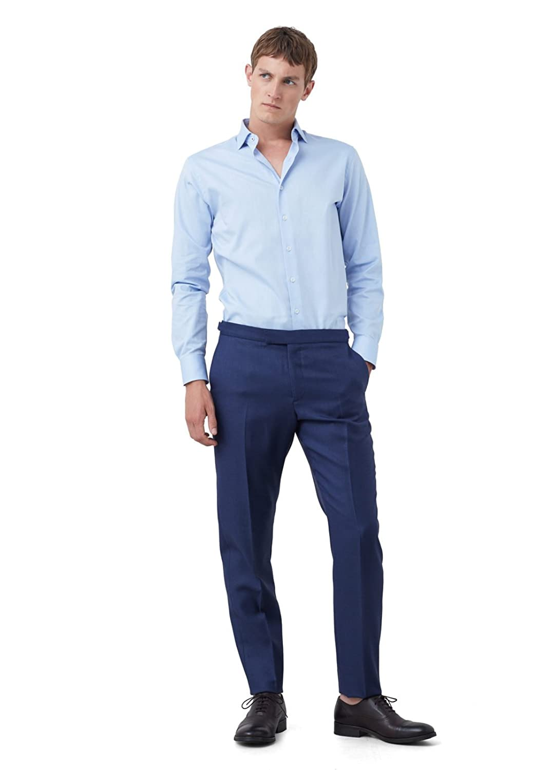 MANGO MAN - Slim-fit tailored textured Formal shirt - Size:XL - Color:Sky Blue