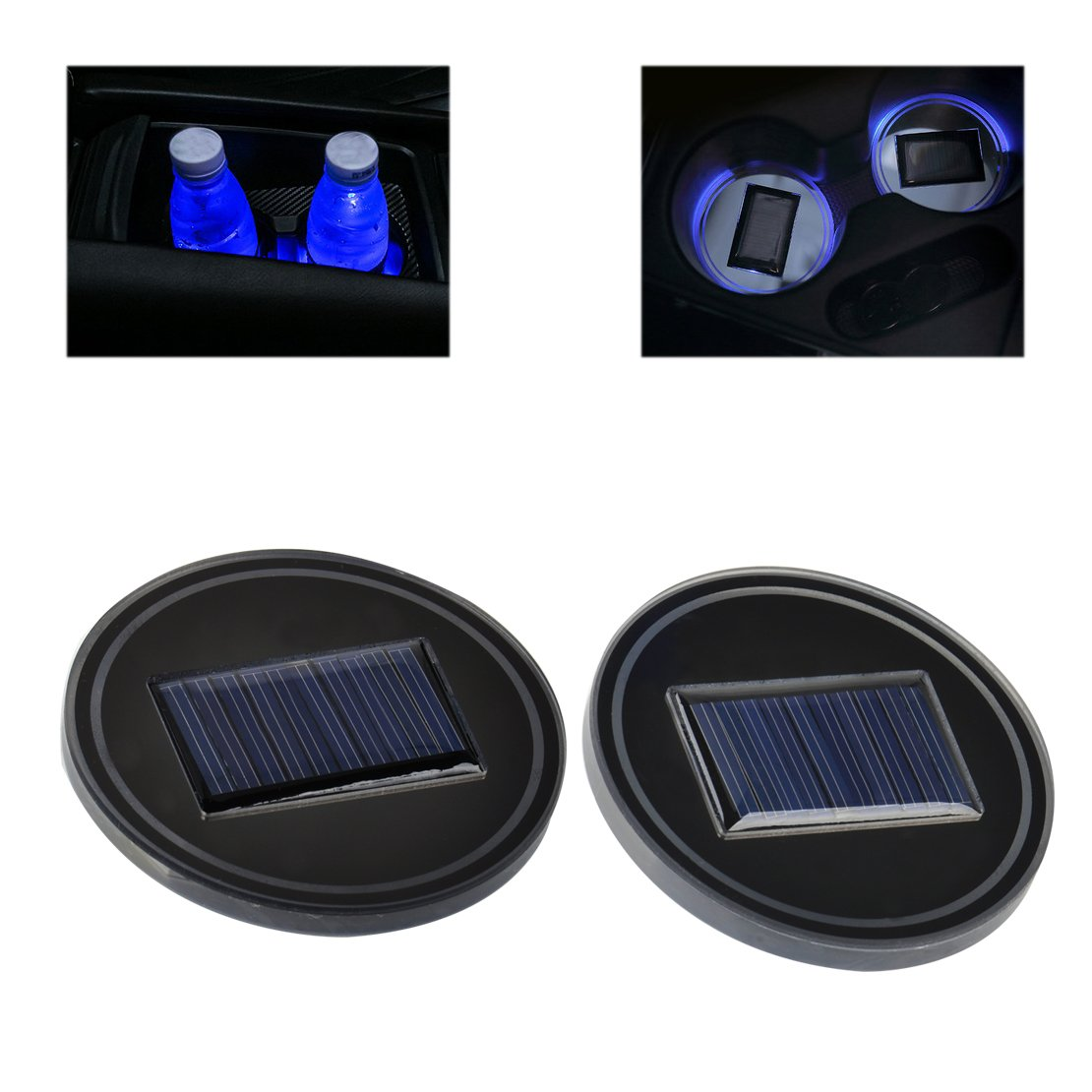 US Solar Cup Holder Bottom Pad LED Light Cover Trim Atmosphere Lamp For All car