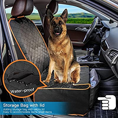 Dog Front Seat Cover, Waterproof Scratchproof Dog Seat Cover with Storage Bag Extra Wide Side Flaps, Nonslip Quilted Durable Pad for Cars Trucks and SUVs