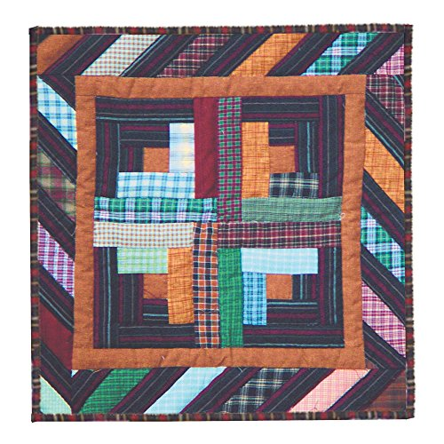 Hand quilted Cotton Patchwork Toss Pillow Dusty Diamond Log Cabin from Patch (Patch Magic Square Diamond)