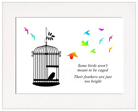 Some Birds Aren\'t Meant To Be Caged Print in a Textured 50cm x 40cm ...