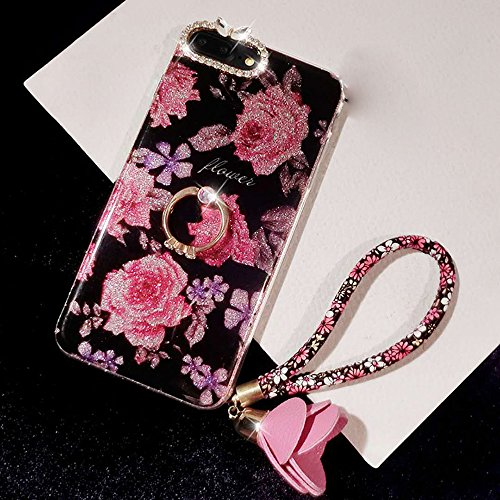 Pendant New 0.25 (Phone 8 Plus Case, Phone 7 Plus Case for Girl Women, Bling Glitter Soft TPU Bumper Beauty Shiny Flower with Diamond Ring Kickstand Rose Pendant Protective Phone Cover for Phone 8plus/7plus)