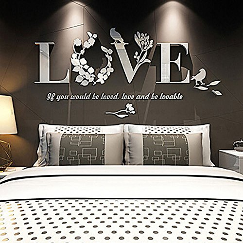 Acrylic Mirror Wall Decals, E-Scenery Love Peel and Stick DIY 3D Wall Stickers Mural Art Wallpaper for Kids Room Home Nursery Wedding Party Window Decor -