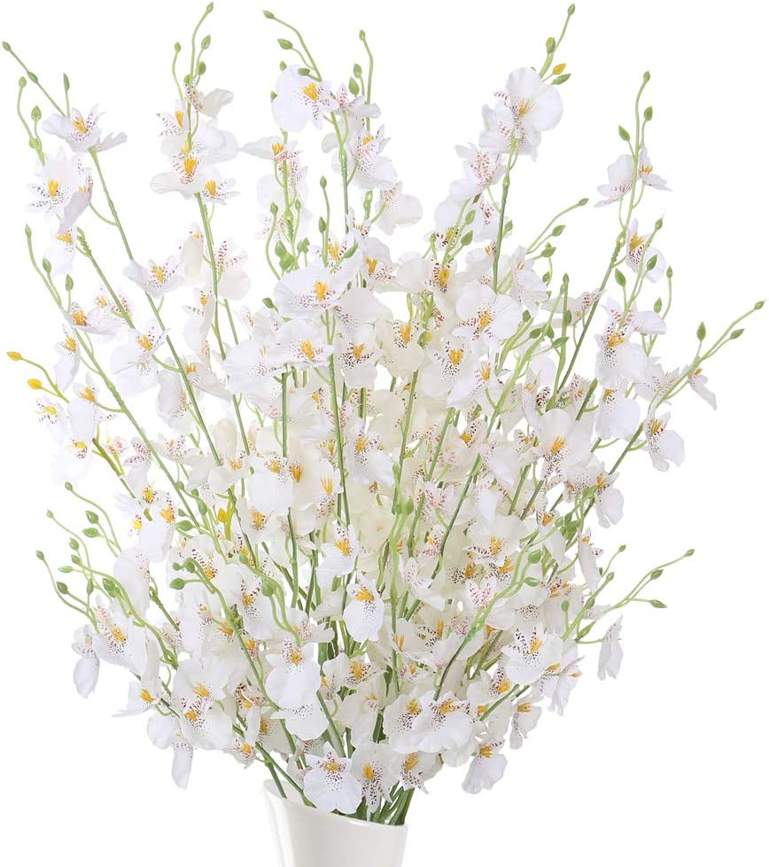 JARELING Orchid Artificial Flowers,10 Pcs Fake Silk Flowers Arrangement Faux Orchid Flower Artificial Orquideas for Home Dining Room Table Decor Indoor (White)