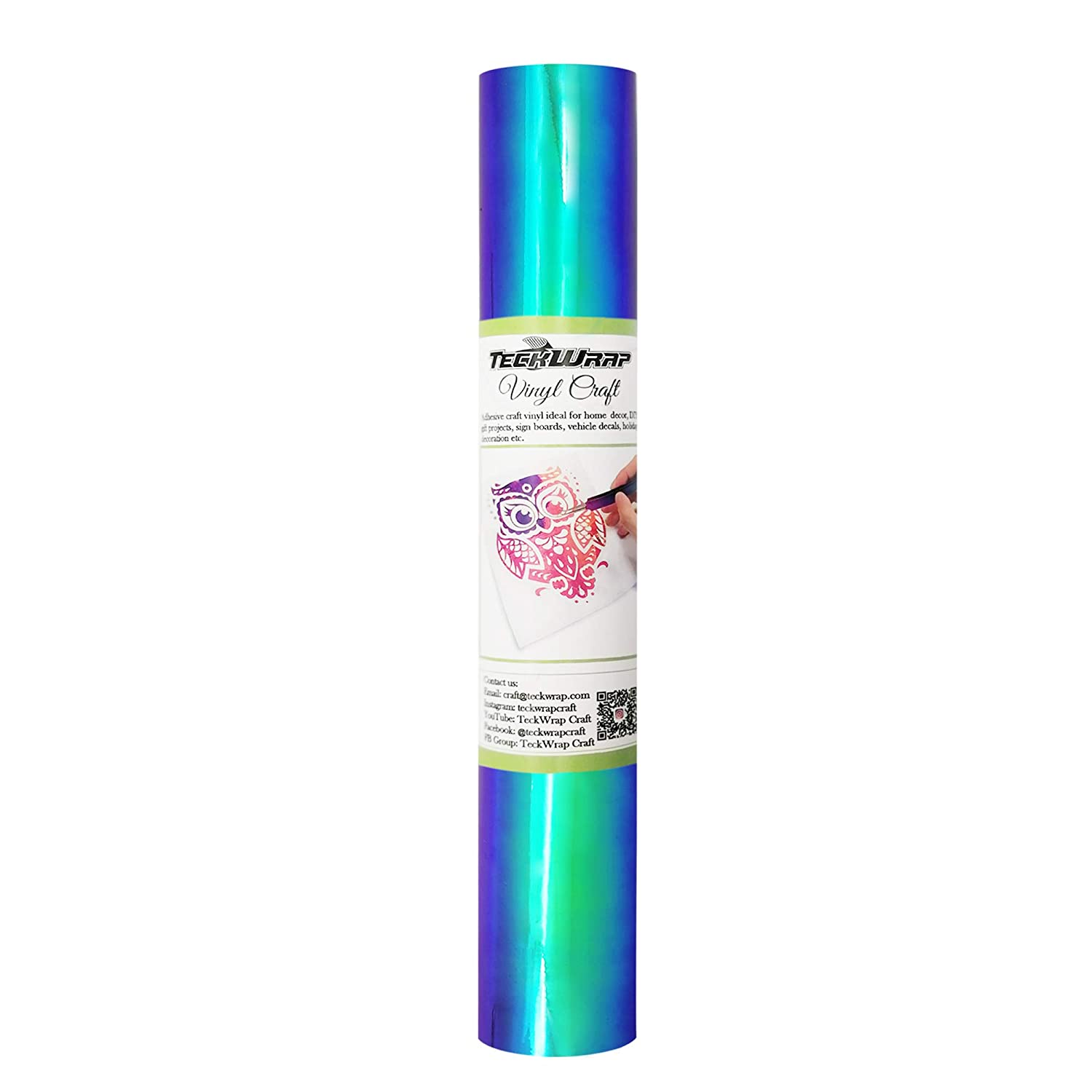 Opal Craft Adhesive Vinyl 1ft x 5ft, Peacock Blue TECKWRAP