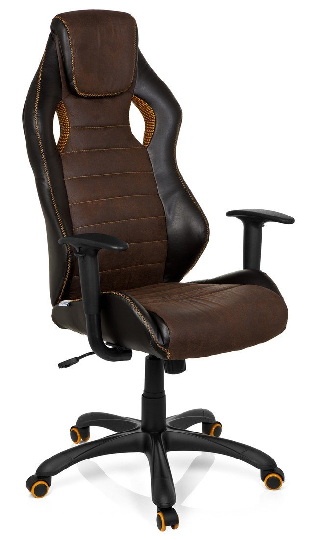 Gaming Chair Office Chair Racer Vintage IV Faux Leather Brown hjh OFFICE