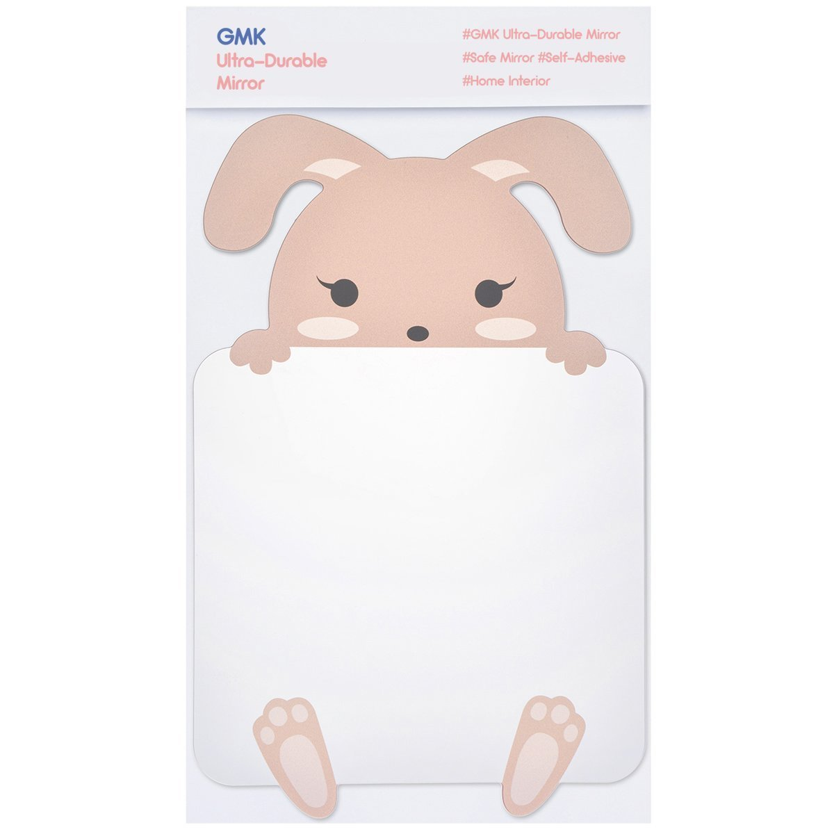 GMK Character Acrylic Mirror with Shock Resistant Coating for Safety, Animal Designs, Easily applicable and Self-adhesive, 7.3 x 11.2 inches, For Kids' Rooms and Kindergartens (Rabbit)