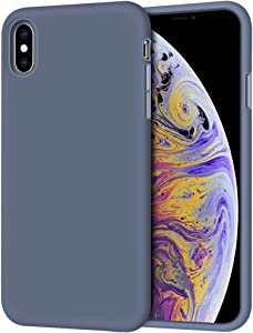 "iPhone Xs Max Case, Anuck Soft Silicone Gel Rubber Bumper Case Anti-Scratch Microfiber Lining Hard Shell Shockproof Full-Body Protective Case Cover for Apple iPhone Xs Max 6.5"" 2018 - Blue Gray"