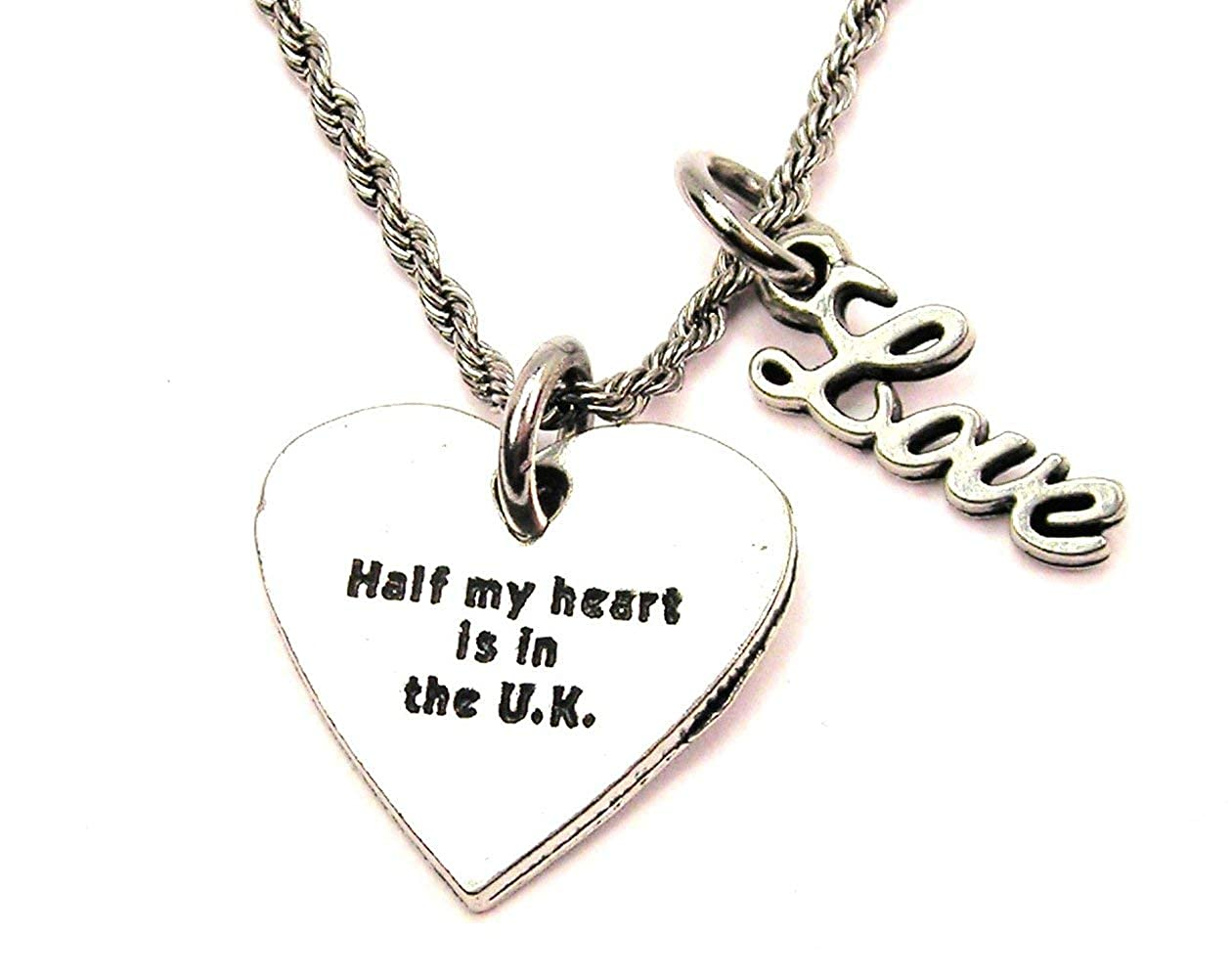 ChubbyChicoCharms Half My Heart is in The UK Stainless Steel Rope Chain Cursive Love Necklace