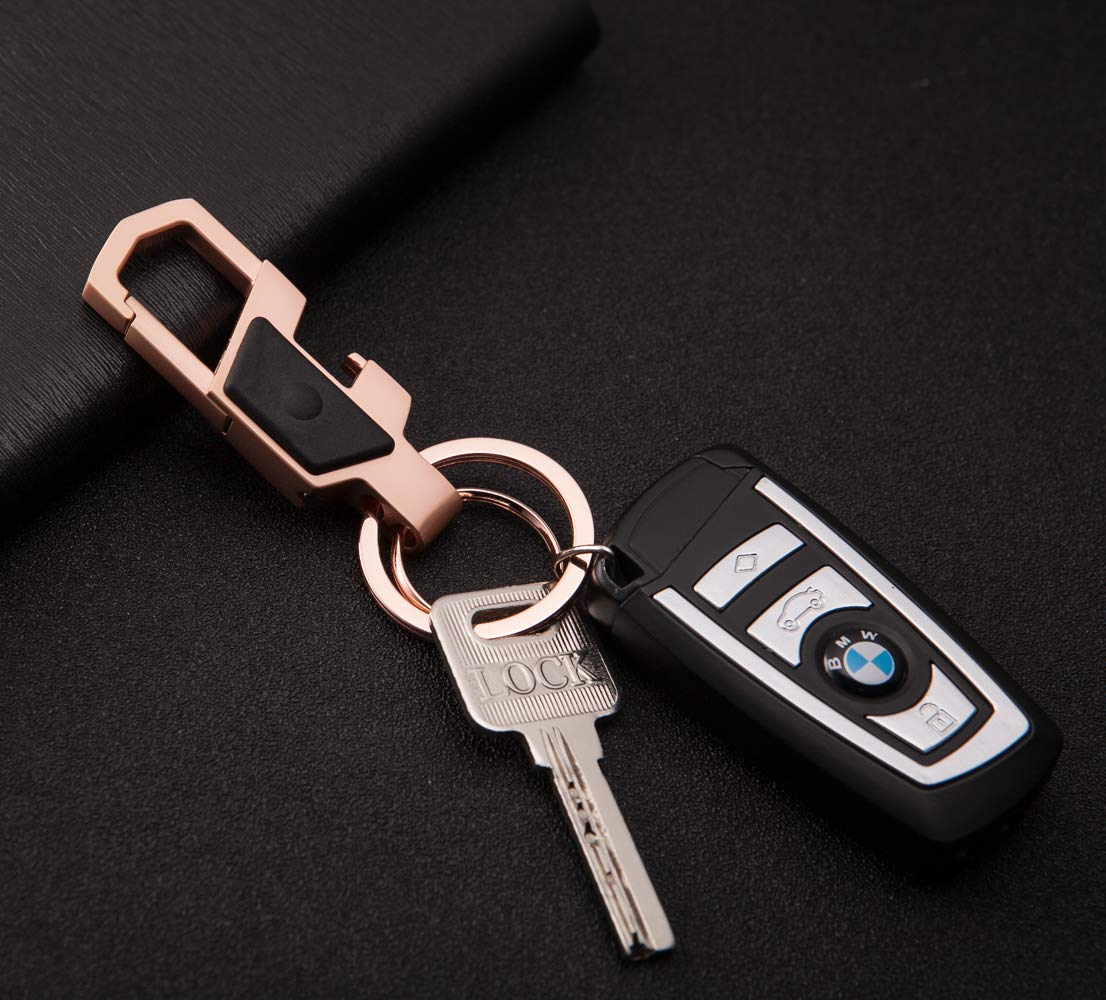 Bright White Zinc Alloy Key Chain,Dual Ring Metal Car Business Keychain with LED Light and Bottle Opener for Men and Women by LXS
