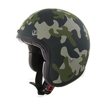 Casco Moto Custom Jet Black Racer Light Verde Militar de fibra homologado de Italia ECE 22.05