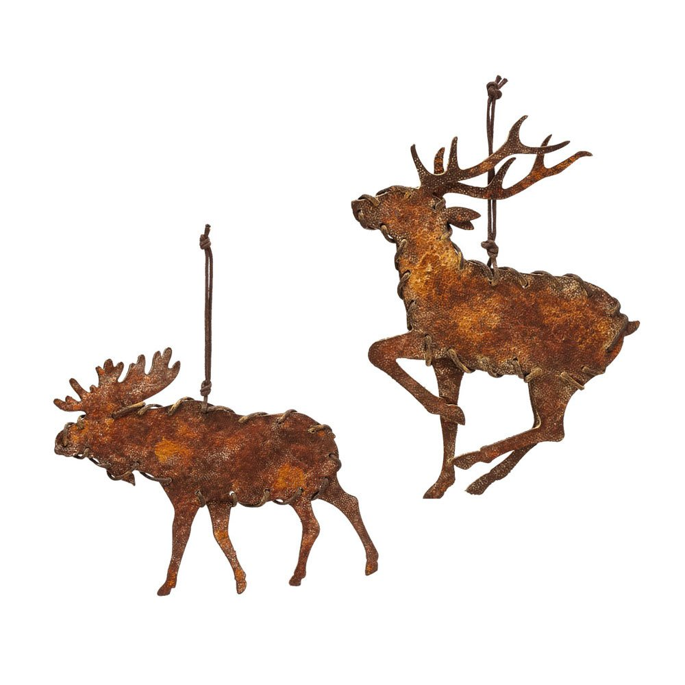 Amazon.com: Rusty Metal Moose and Reindeer Christmas Ornaments Set ...
